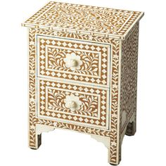 Bring an ornate touch to your entryway or master suite with this eye-catching wood side table, showcasing a bone-inlaid vine motif and carved leg braces.  ...