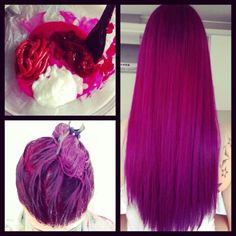 Purple hair with reddish undertones