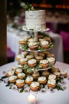 Small Wedding Cakes, Wedding Cakes With Cupcakes, Cupcake Cakes, Wedding Cupcake Towers, Winter Wedding Cupcakes, Wedding Cupcake Table, Different Wedding Cakes, Wedding Cup Cakes, Classic Wedding Cakes
