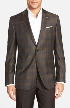 Ted+Baker+London+Trim+Fit+Plaid+Wool+Sport+Coat+available+at+#Nordstrom