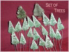 1950s Bottle Brush Flocked Christmas Tree set of 20 - Red Wood Base - Pennsylvania Vintage Estate - FREE SHIPPING by FindMeTreasures on Etsy