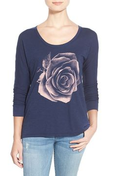Lucky Brand Photographic Rose Print Tee available at #Nordstrom