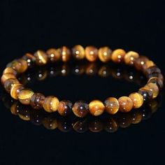 Reiki healing Natural Yellow Tiger Eye Stone Gem stone Beads Men Jewelry Bracelet Bangle buy one send one Stretch Bracelets, Bangle Bracelets, Bangles, Stone Beads, Round Beads, Coral, Gemstones, Rings, Accessories