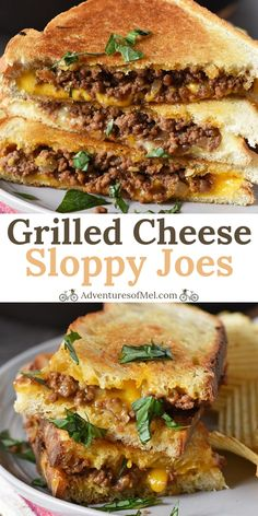 Enjoy the best of both worlds with grilled cheese sloppy joes, the ultimate comfort food sandwich made with ground beef, homemade sauce, and melted cheese. #adventuresofmel #grilledcheese #sloppyjoes #dinnerideas #easyrecipes #comfortfood