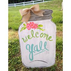 Decoration/Quote/ shirt /sheet banner inspiration for sweet home bid day theme, I LOVE IT - Vintage Flowers Southern Wooden Door by PatrioticPeacockShop Mason Jar Crafts, Mason Jars, Glass Jars, Cute Crafts, Diy Crafts, Adult Crafts, Burlap Door Hangers, Diy Cutting Board, Crafty Craft
