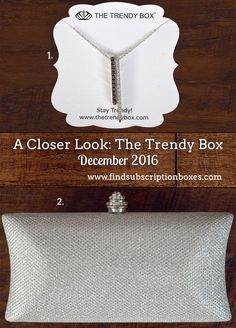 "December's ""Winter Belle"" The Trendy Box had a chic, sparkly clutch and matching necklace. Read our review to see the box! http://www.findsubscriptionboxes.com/a-closer-look/december-2016-the-trendy-box-review/?utm_campaign=coschedule&utm_source=pinterest&utm_medium=Find%20Subscription%20Boxes&utm_content=December%202016%20The%20Trendy%20Box%20Review  #TheTrendyBox"