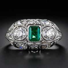 Edwardian Emerald and Diamond Dome Ring #ring#antique