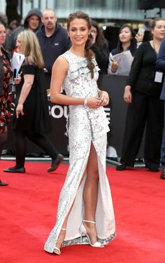 """Alicia Vikander in Louis Vuitton attends the """"Jason Bourne"""" European premiere at the Odeon Leicester Square on July 11, 2016 in London, England."""