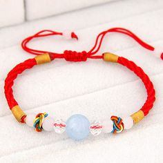 Pretty Red Beads Decorated Weave Design Alloy Korean Fashion Bracelet :Asujewelry.com