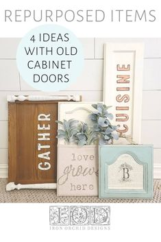 Old cabinet doors are fairly easy to find and make for great shabby chic or cottagecore style home decor. Here are 4 ideas of things you can make with repurposed items and IOD Stamps. Old Cabinet Doors, Old Cabinets, Stencil Diy, Stenciling, Repurposed Furniture, Painted Furniture, Decor Crafts, Diy Home Decor, Iron Orchid Designs