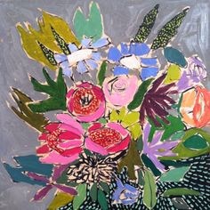 pretty flower painting by lulie wallace Art Floral, Bohemian Flowers, Painting Inspiration, Art Pictures, Collage Art, New Art, Flower Art, Cool Art, Art Projects
