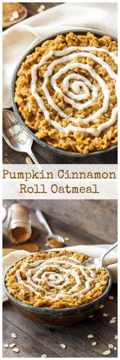 Pumpkin Cinnamon Roll Oatmeal |Pumpkin and cinnamon roll flavors are combined…