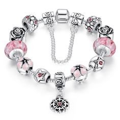 Presentski Fashion Charm Bracelet for Teen Girls and Women with Safe Chain Flower Themed Pink Charms Inches. Classic DIY Charm Bracelet with Love Price Bangle Bracelets With Charms, Pandora Bracelets, Ankle Bracelets, Silver Bracelets, Fashion Bracelets, Fashion Jewelry, Beaded Bracelets, Strand Bracelet, Silver Earrings