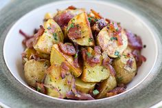 Warm, Roasted Baby Potato Salad with Crispy Bacon, Caramelized Red Onions and Warm Bacon Vinaigrette--make with sweet potatoes Baby Potato Salad, Roasted Potato Salads, Potato Salad Mustard, Warm Potato Salads, Potato Salad Recipe Easy, Roasted Potatoes, Bacon Potato, Healthy Recipes, Cooking Recipes