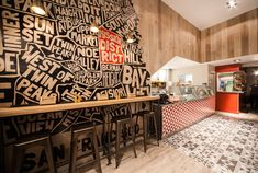 Mission Burrito restaurant by Simple Simon Design Cardiff UK Frances Taylor Photography Restaurant Concept, Restaurant Branding, Cafe Restaurant, Restaurant Design, Cafe Interior Design, Cafe Design, Store Design, Flat Interior, Interior Ideas