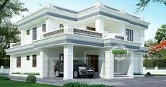 3556 square feet 4 bedroom house in decorative flat roof style by R it designers, Kannur, Kerala.