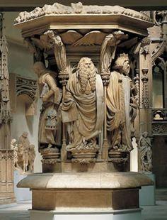 Pozo de Moisés. Escultura. Alto relieve. Liberación del marco. Rostro y ropaje mas naturalista. El material utilizado es el mármol.