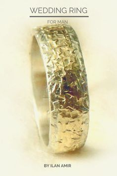 Roughly hammered sterling silver and gold wedding ring for men, handmade wedding band, unisex ring, rustic texture, unique design, Ilan Amir
