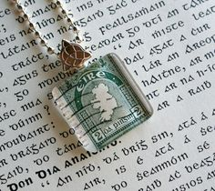 Map of Ireland vintage postage stamp necklace, by CrowBiz. Limited number left until St. Patrick's Day! More Irish styles available - click through