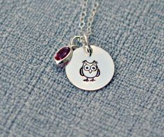 Owl Necklace Hand Stamped Sterling Silver by 3LittlePixiesShoppe, $30.00