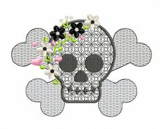Skull Flowers & Hearts Machine Embroidery Design by SewCraftey, $2.99