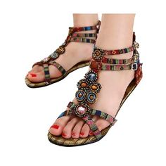 9e51dd0fb2ba7 HEE GRAND Summer Style Ethnic Women Sandals 2017 Bohemian Fashion Beading  Pu Printed Casual Flat with For Woman XWZ797