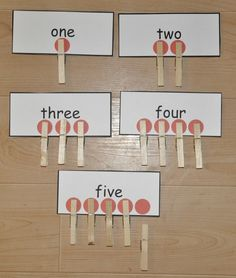 Combines counting with number word recognition.  Can use counters, clothespins, or paper clips.