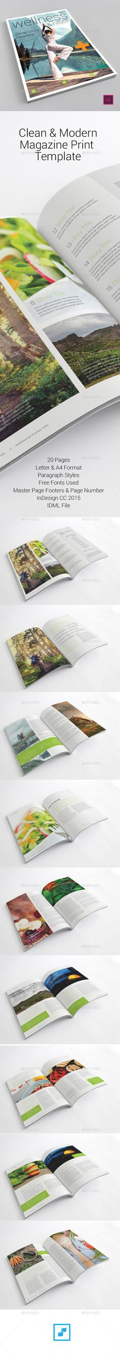 The clean and modern magazine print template can be used for any magazine or brochure that needs a clean, corporate and professional design.