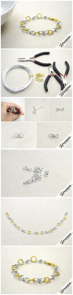 These pictures illustrate the procedures for how to make a truly cool wire bracelet . Without any intricate or feminine decorations,you can make a bracelet with wire and can also regarded as sweet gift for friends.