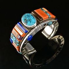 Cobbled Inlay turquoise cuff, Navajo artist, Wes Willie.