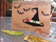 Happy Halloween Witches Hat Bats Spiders by DreanasDragonflyPie, $4.00