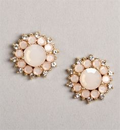 Gold/Blush Flower Stud Earrings