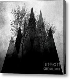 Trees Vi Acrylic Print #art #trees #branches #gray #black #abstract #art #modern #piaschneider #landscape #nature #blackandwhite #dark #acrylicprints #illustration #fineartamerica #canvasprint #artprints #kunst #kunstdrucke