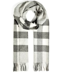 DESIGNER  BURBERRY LONDON DETAILS HERE  Cashmere Half Mega Check Scarf in  Light Grey Check 58687acc793