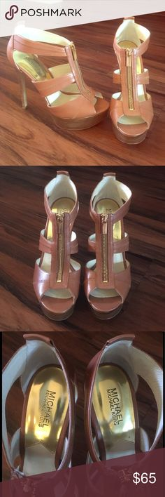 MICHAEL KORS Leather Berkeley T Strap Platform MICHAEL MICHAEL KORS Beautiful camel leather T strap platform heel.  5.5 inch heel with 1.5 inch platform. Only worn once! Kept in tissue and box, does not have original box.  Great condition, these shoes are gorgeous! MICHAEL Michael Kors Shoes Heels