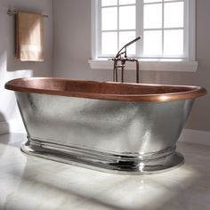 "78"" Kelsey Copper Pedestal Tub - Nickel Exterior - Bathtubs - Bathroom"