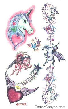 Tattoos Mystical Unicorn Tattoo In Glitter  Free Download picture 9860