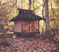 Japanese tea house with leaves.  Would Love to write here.