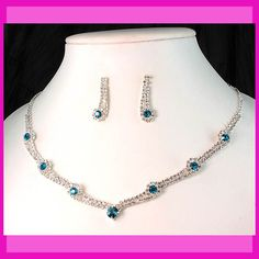 Wedding Bridal Bridesmaids Teal Crystal Necklace Earrings Jewelry Set Prom Dance | eBay