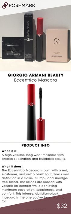❤️NEW!❤️GIORGIO ARMANI Eccentrico Mascara 3Pc Set ❤️NEW!❤️GIORGIO ARMANI Eccentrico Mascara 3Pc Set BNIB! Eccentrico Mascara is a high-volume, long-wear mascara with precise separation and buildable results.  Includes: 1.) Eccentrico Mascara in Obsidian Black Full Size 0.22oz BNIB  2.) Si Fragrance Deluxe Travel Size Spray 1.2ml/0.04oz   3.) Luminious Silk Foundation Deluxe Travel Packet.   BNIB! UNTOUCHED! 🚫Trades 🚫Price Firm Unless Bundled Sephora Makeup Mascara