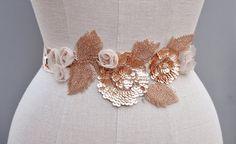 Wedding Belt Bridal Beaded Rose Gold Wedding SashJENNY by CamillaChristine, $168.00