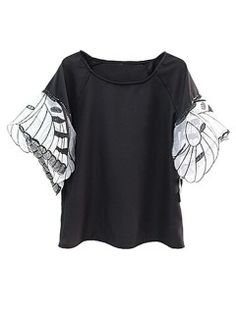 Shop Black Vintage Sheer Butterfly Embroidery Sleeve Blouse from choies.com .Free shipping Worldwide.$21.99