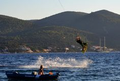 Kitesurfer jumps near Korcula, Croatia