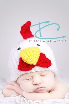 Crochet Rooster Hat, Farm Animal, Photography Prop, Newborn Baby $25