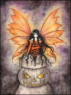 Halloween Stone Fairy  Fine Art Print by Molly Harrison 9 x 12 Giclee