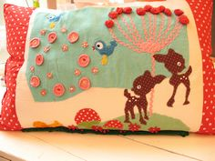 Adorable woodland cushion by Wollies on Flickr: