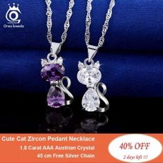 Cute Cat Pendants Necklace with Carat AAA Austrian Cubic Zirconia for Women Fashion Watches, Women Accessories, Jewelry Watches, Plating, Fashion Jewelry, Pendants, Bracelets, Necklaces, Pendant Necklace