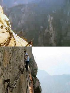 Need a Monday morning video kick. Watch the video of this Trail in China.  Video Shows Why Huashan Cliffside Path is the World's Most Dangerous Hiking Trail - TechEBlog