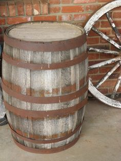 barrel and old wagon wheel. Photography by Weldon Kilpatrick