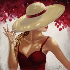 Recolor Acrylic Painting Canvas, Canvas Art, Canvas Prints, Kit Pintura, Drawings Pinterest, Canvas Wall Decor, Fashion Painting, Girl With Hat, Painted Rocks